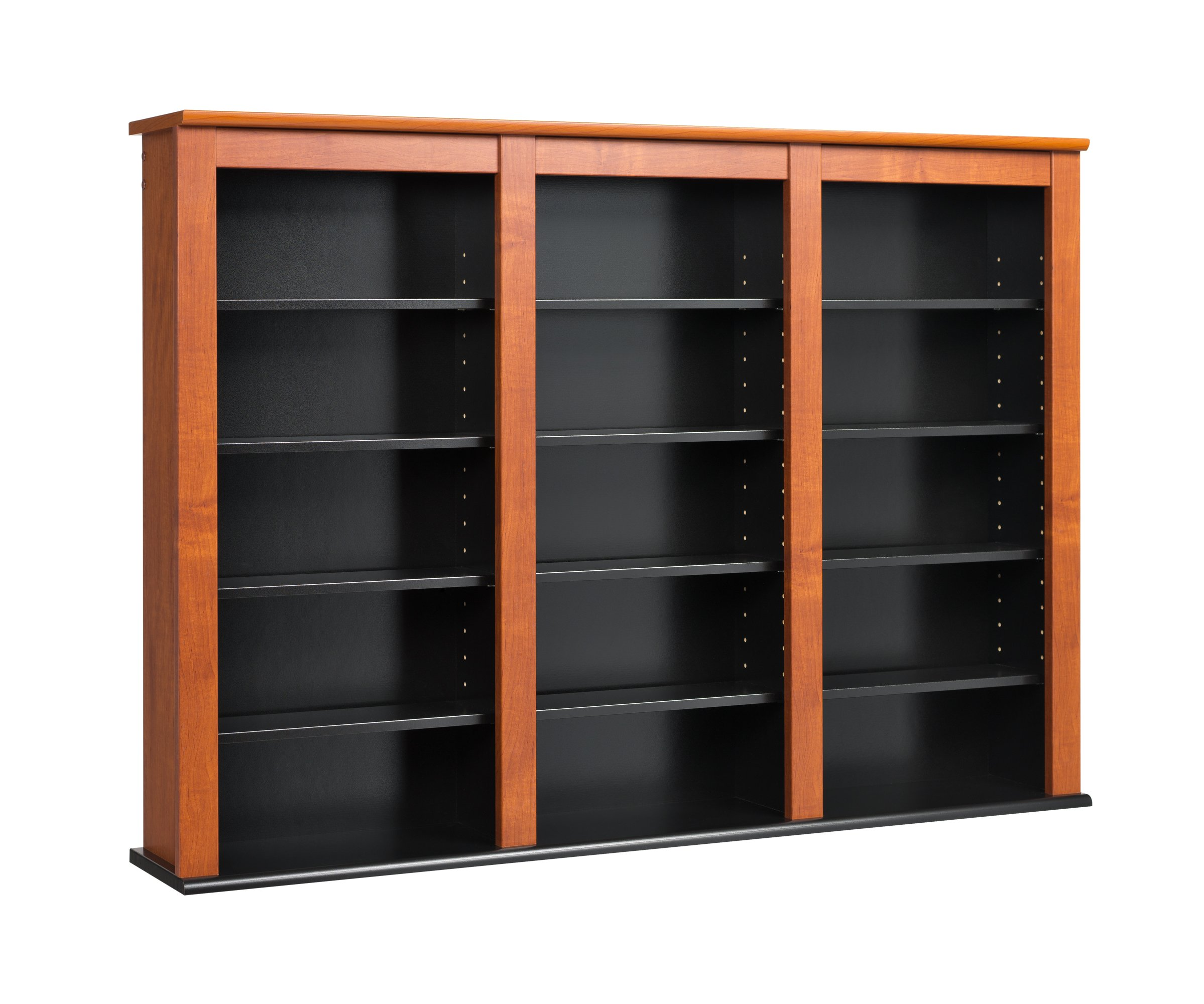 Prepac Triple Wall Mounted  Storage Cabinet, Cherry and Black
