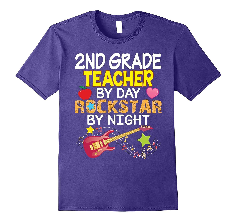 Second Grade Teacher by day Rockstar by night T-Shirt 2nd-Art