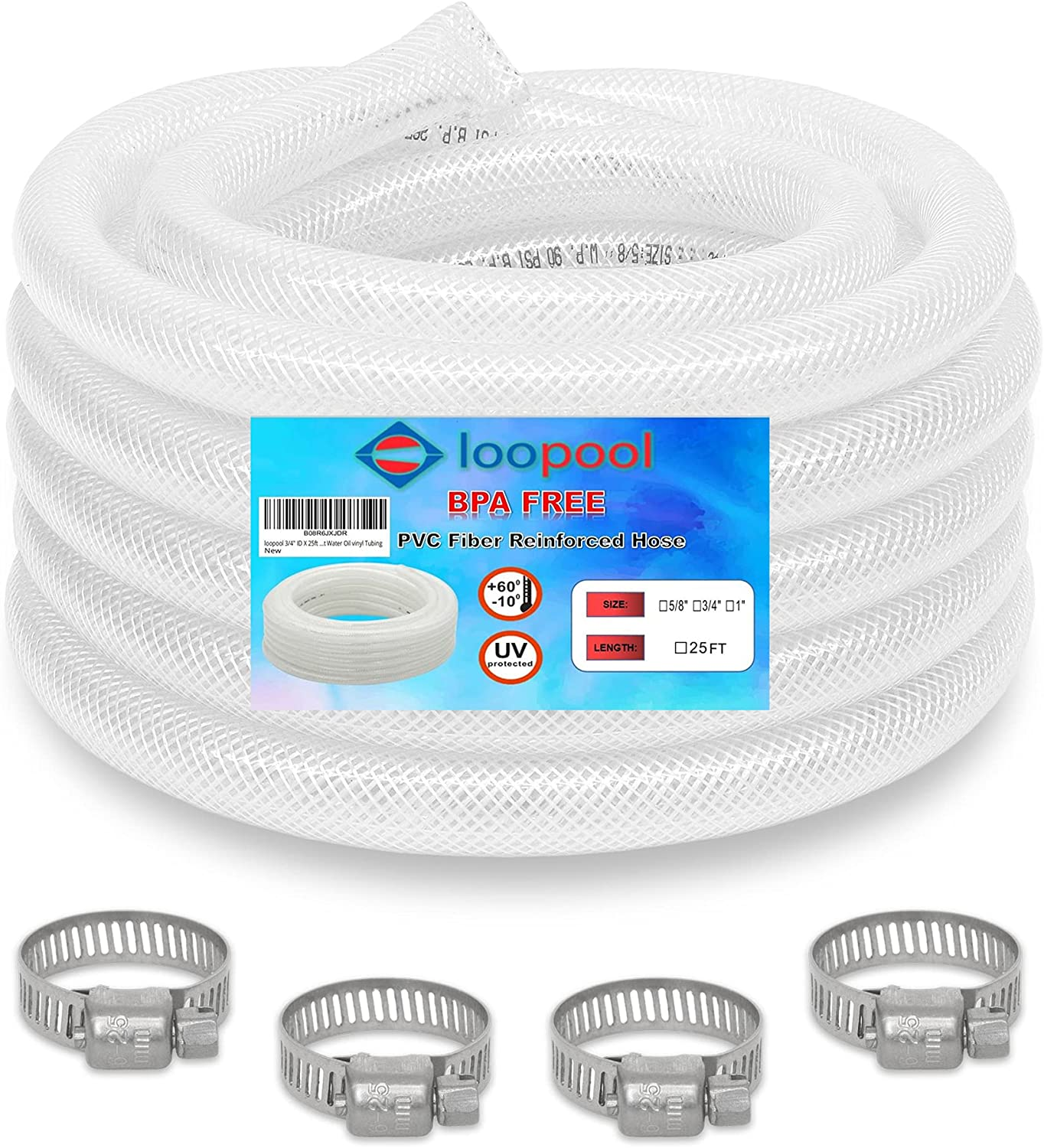loopool Food Grade Hose BPA Free, High Pressure Braided Clear PVC Flexible Tubing, Heavy Duty Reinforced with 4 x clamps Included, Chemical Resistant Water Oil vinyl Tubing (25 FT, 1