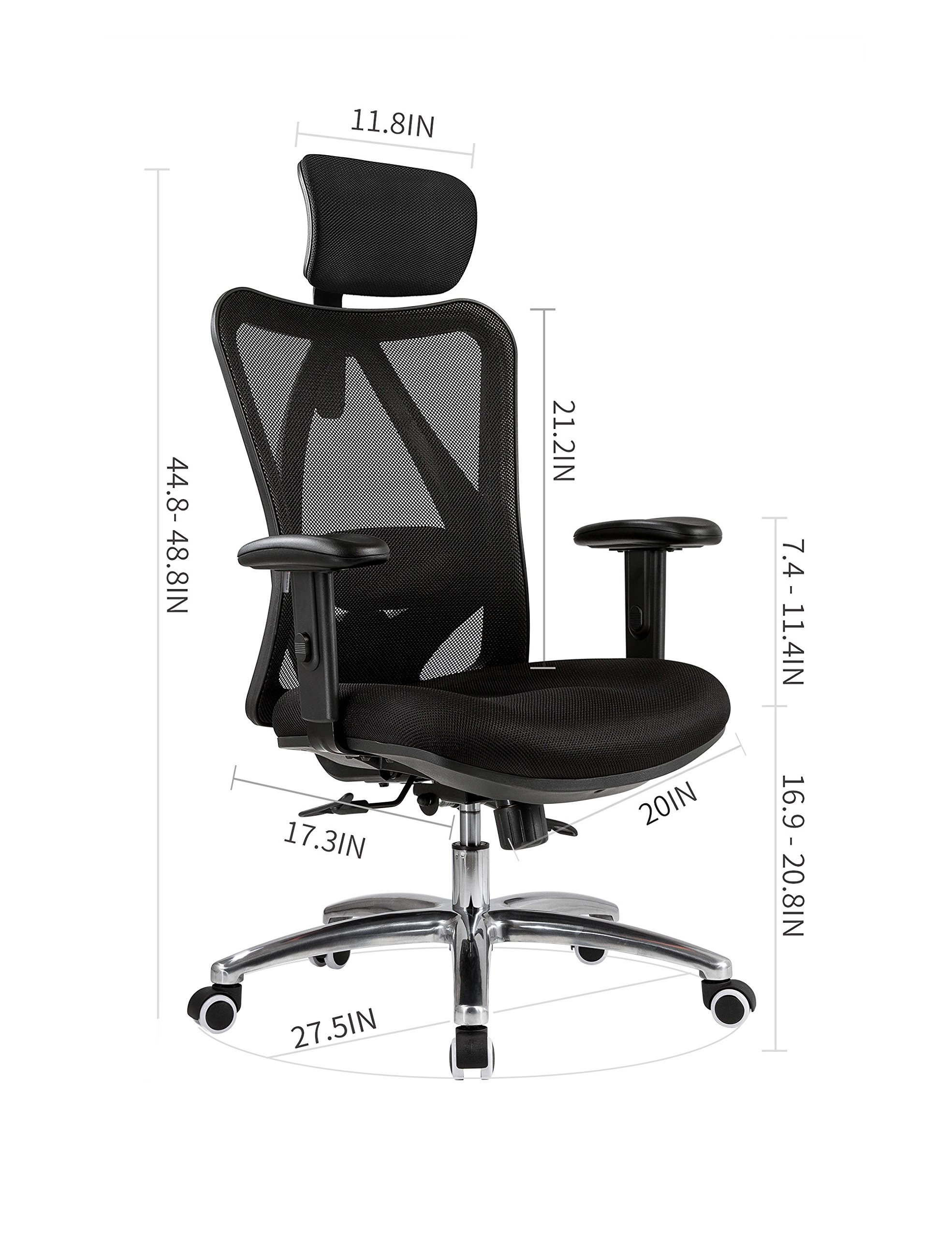 Sihoo Ergonomics Office Chair Computer Chair Desk Chair, Adjustable Headrests Chair Backrest and Armrest's Mesh Chair (Black) by SIHOO (Image #6)