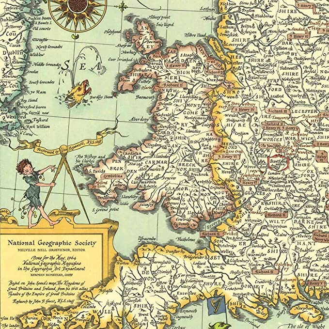 f94d2a4ae74c8a Meishe Art Poster Print Retro Vintage UK Great Britain Shakespeare s Map  Office Home Wall Decor (22.05   x 29.13  )  Amazon.co.uk  Kitchen   Home