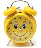 Bazaar Pirates Smiley Old Style Alarm Clock, Old Age, Old Fashioned, Kids Room Table Clock(Steel) (Yellow)
