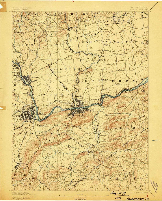 Amazon Com Yellowmaps Allentown Pa Topo Map 1 62500 Scale 15 X