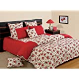 Swayam Printed Cotton Bedsheet with 2 Pillow Covers - King Size, Red (DBS XL-6904)