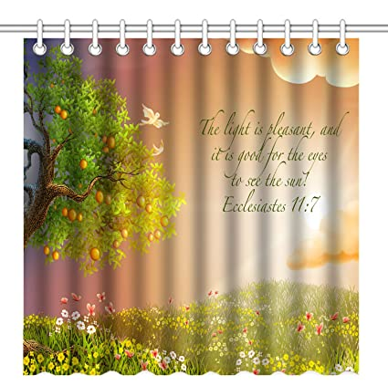 Wknoon 72 X Inch Shower Curtain Christian Bible Verses Scriptures Ecclesiastes Quotes With Nature