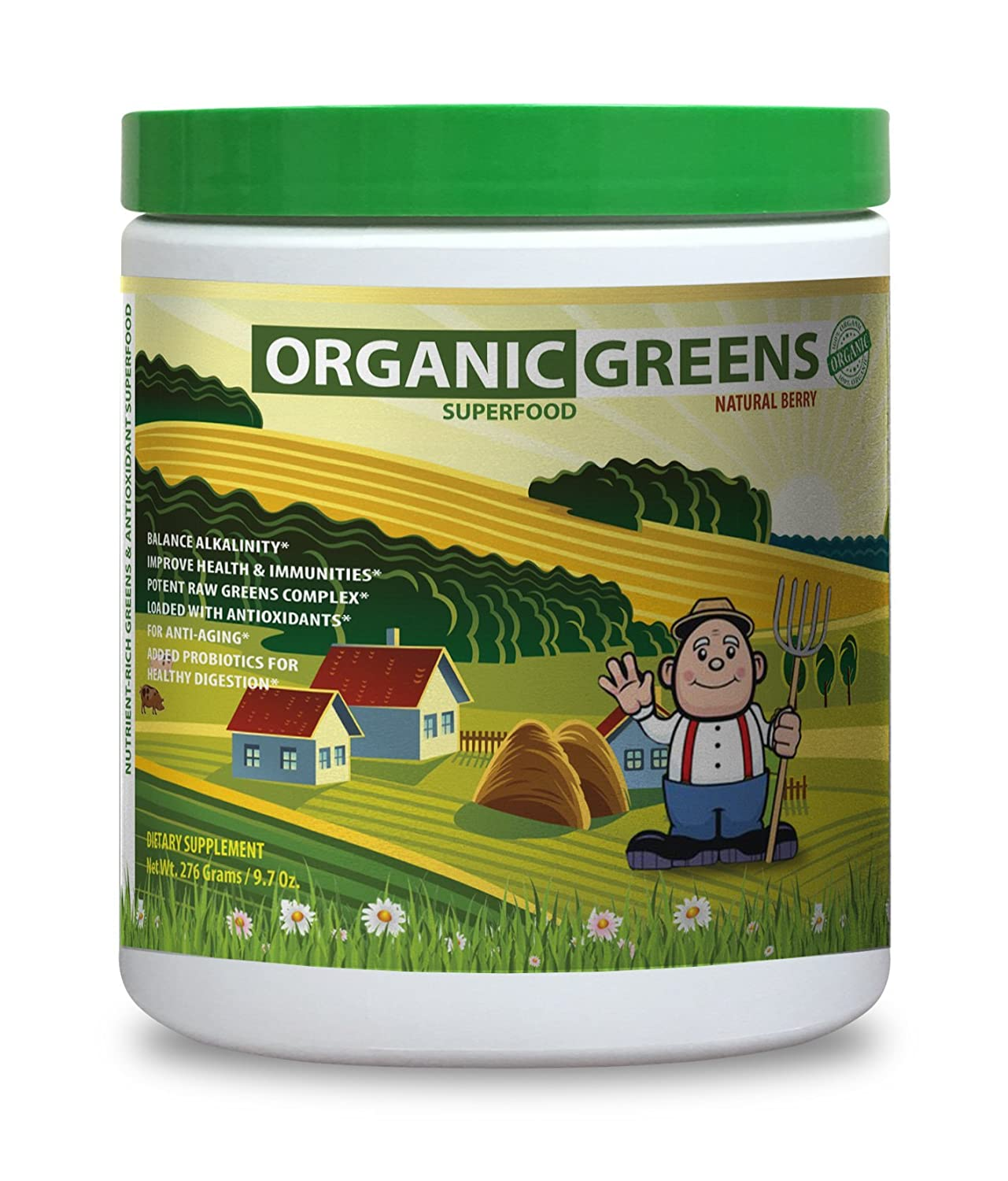 Amazon.com: Orgánico verdes color verde Superfood mezcla 300 ...