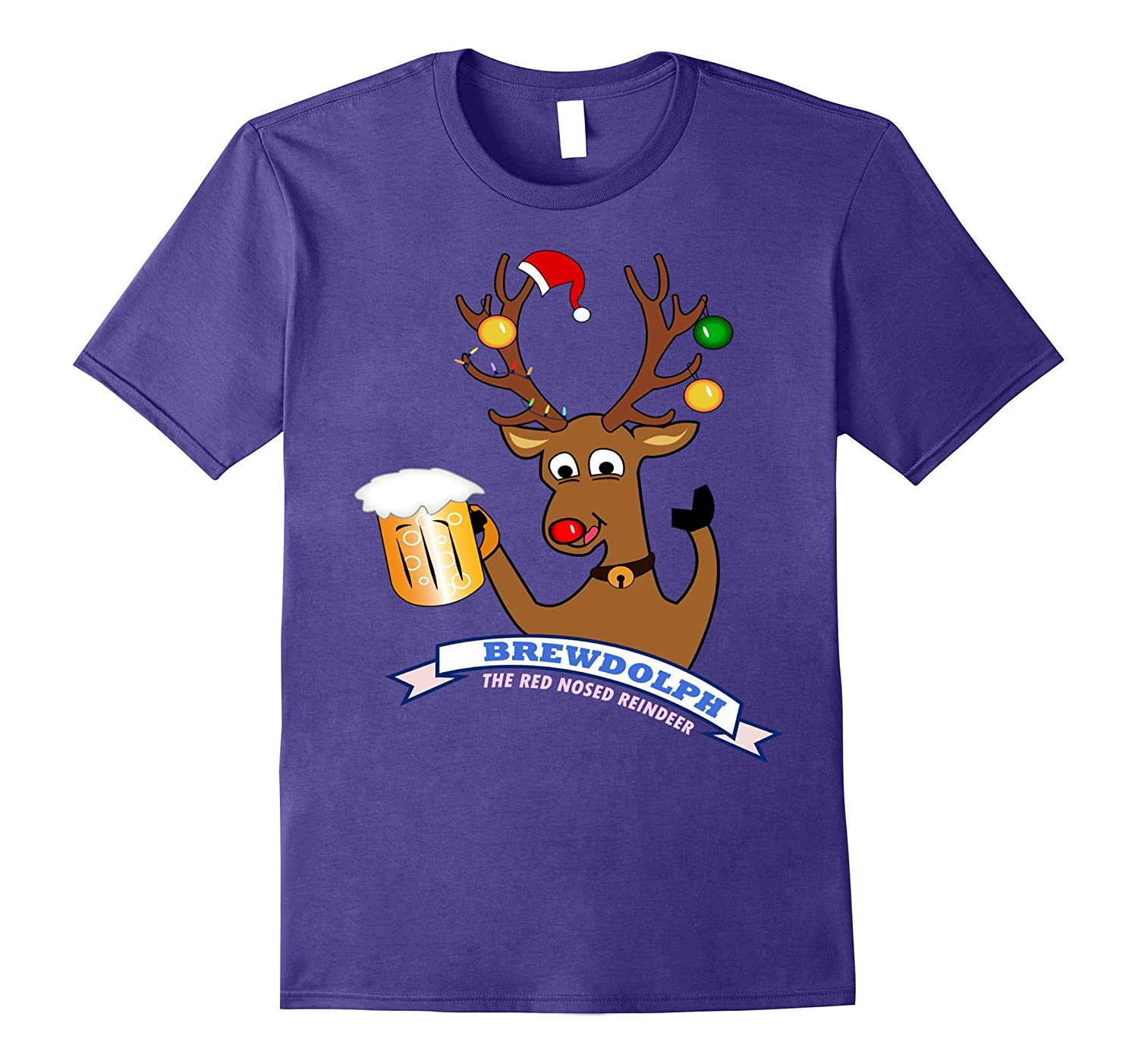 BrewDolph Reindeer Funny Rudolph Christmas Holiday T-Shirt-T-Shirt