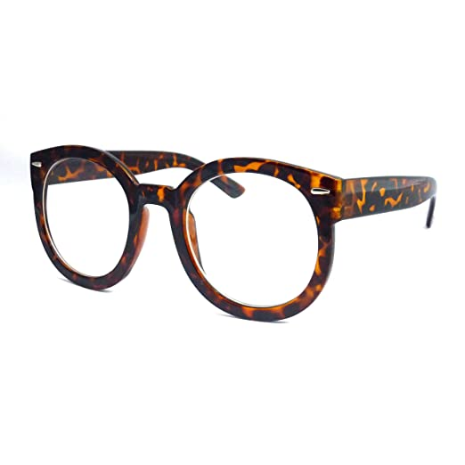 687b4039cd Image Unavailable. Image not available for. Color  RETRO Nerd Oversized  Plastic Unisex Round Frame Clear Lens Eye Glasses TORTOISE