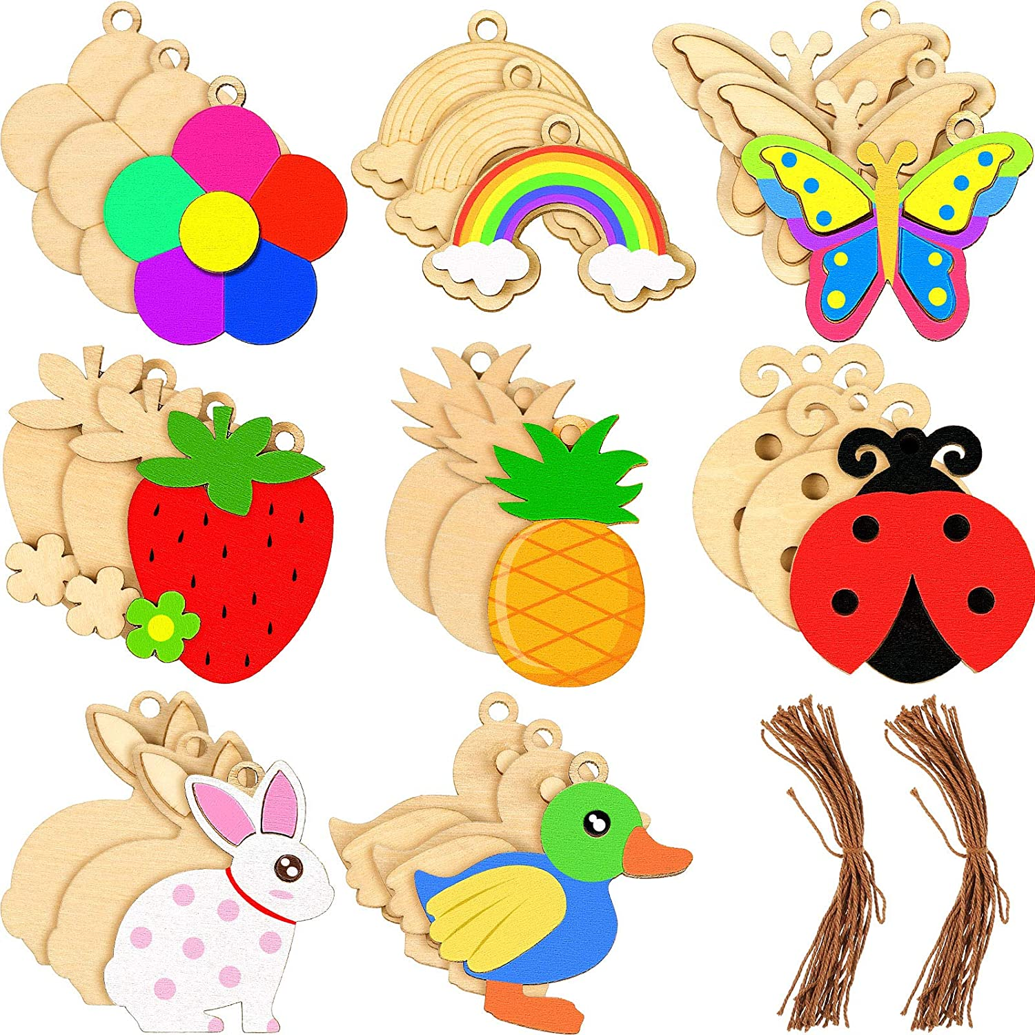 24 Pieces Summer Unfinished Wood Cutouts Animals and Fruit Shape Unfinished Wooden Ornaments with Rope, Wooden Paint Crafts for Kids Home Decoration Craft Project, 8 Styles