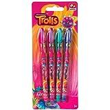 Trolls Gell Pens Pink Purple Green Blue Girls Kids School Art Stationery