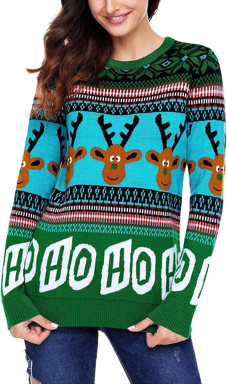 Dokotoo Womens Cute Reindeer Snowman Christmas Knit Sweater Pullovers (S-XXL)