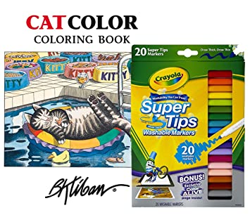 Crayola Super Tips Washable Markers Set Of 20 And Pomegranate Kliban Cat Color Coloring Book