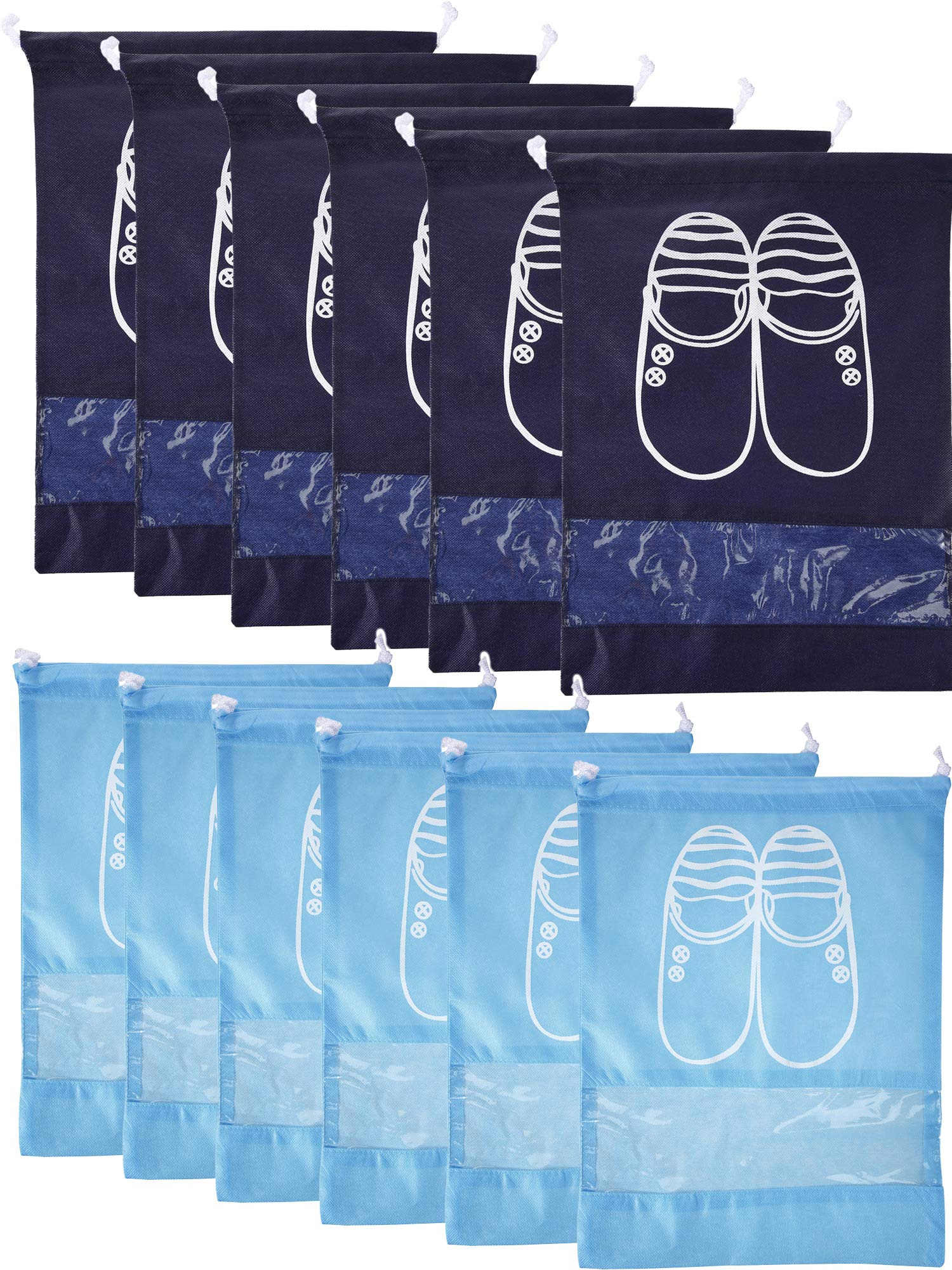 Chengu 12 Pieces 2 Sizes Shoes Bag Shoe Organizer Bag Storage Dust-proof Shoe Bags with Drawstring for Women and Men (Sky Blue, Navy Blue)