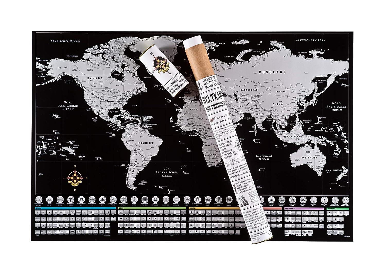 Rubbelwelten Rubbel Weltkarte zum Freirubbeln auf deutsch inklusive Rubbelzubeh/ör I rubbel Landkarte XXL in Silber I tolles Geschenk