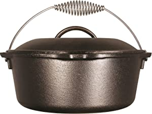 Lodge Cast Iron Dutch Oven with Spiral Bail and Iron Cover