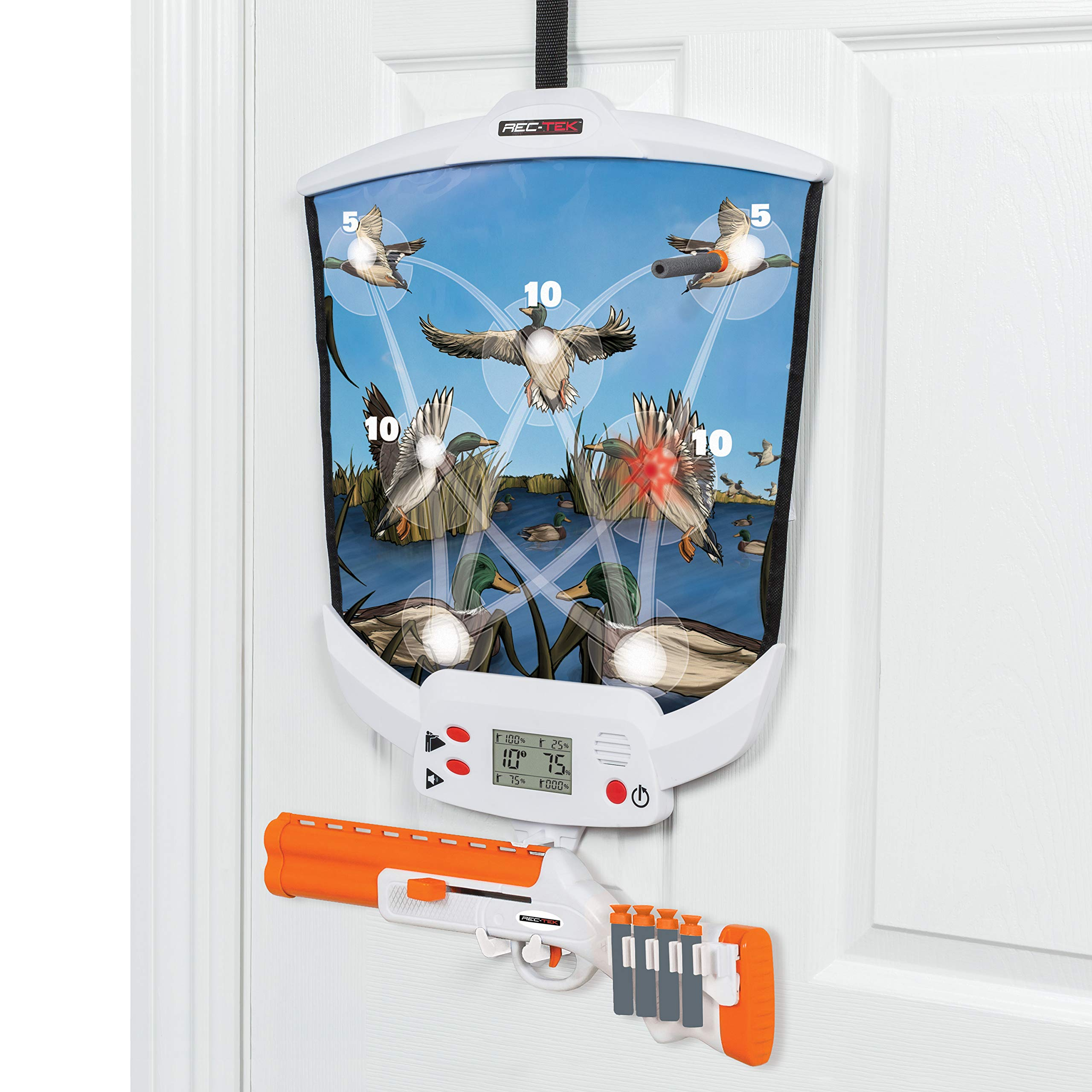Rec-Tek Over The Door Duck Hunting Game for Kids - Features Easy Assembly and Easily Adjustable Height - Complete with all Accessories by Rec-Tek