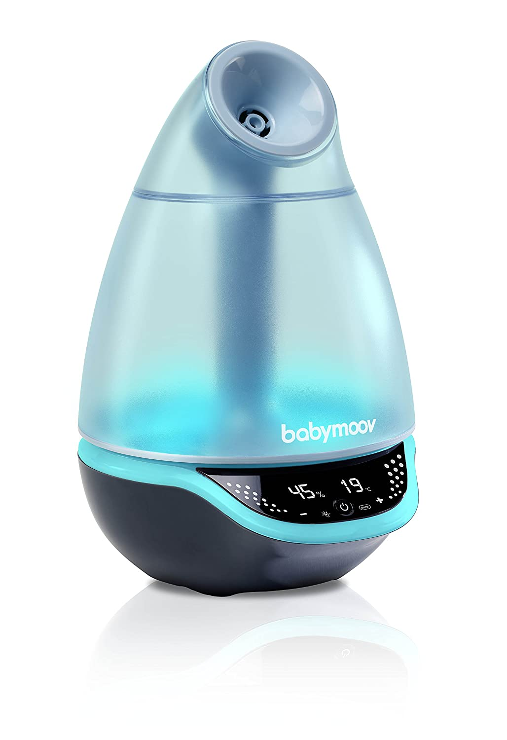 Babymoov Hygro Plus | 3-in-1 Humidifier, Multicolored Night Light & Essential Oil Diffuser | Automatic Operation for Easy Use and Care (NO FILTER NEEDED) A047014