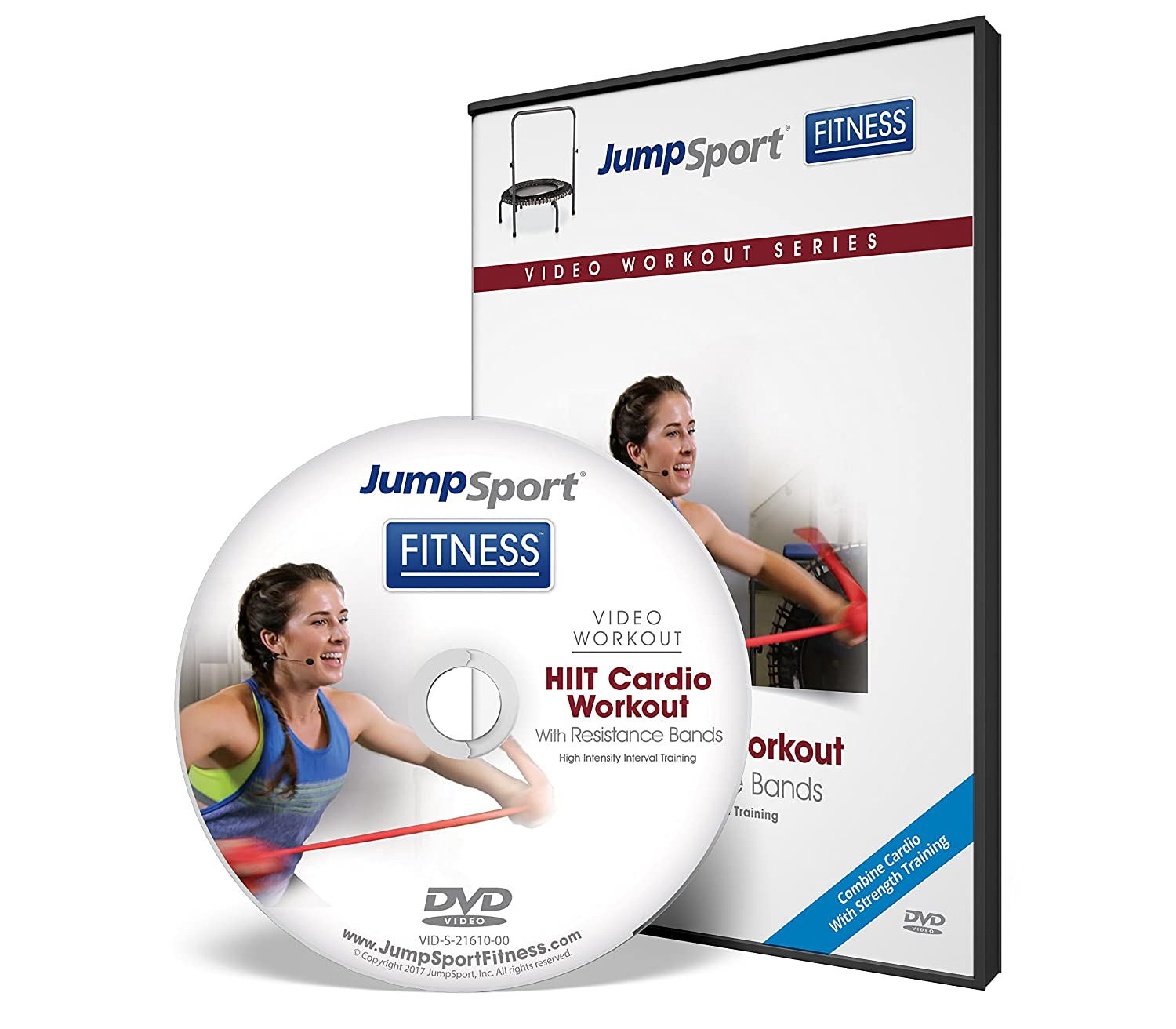 JumpSport Fitness Trampoline Workout DVDs | Cardio Focused | Resistance Bands and Handle Bar Options Available VID-S-21473-00