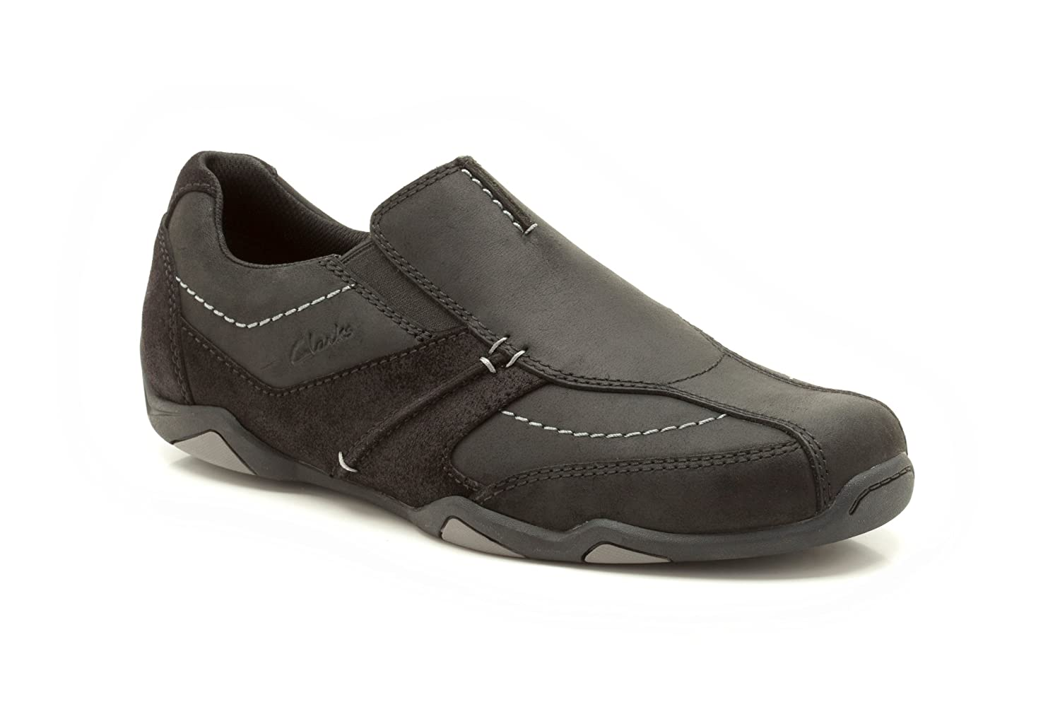 7f40583e6bf Clarks Mens Casual Rawson Line Nubuck Shoes In Black Wide Fit Size 10.5   Amazon.co.uk  Shoes   Bags