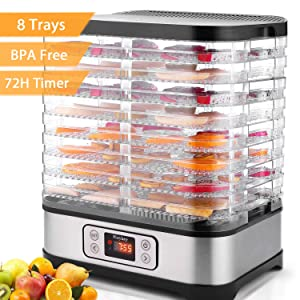 Electric Food Dehydrator Machine Flagup 8 Trays 400W Digital Food Dryer with Timer, Temperature Control, BPA Free, LCD Display Screen