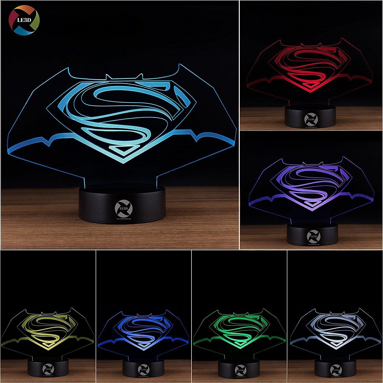 le3d 3d Night Light Optical Illusionランプ – 7 LEDライト色の変更 – For Your寝室| Office – ソフトクールライトはセーフfor Kids – 60異なるデザイン B0752TBCBC 10609 Bat-man Superman Batman Superman