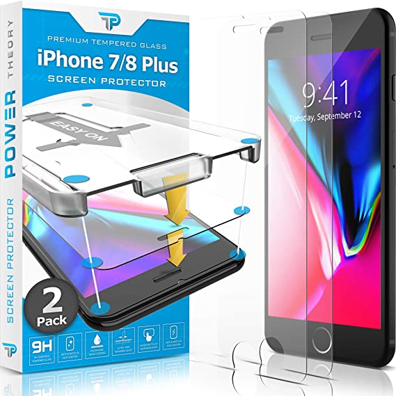 huge discount 73d26 2ea69 Power Theory iPhone 8 Plus/iPhone 7 Plus Glass Screen Protector [2-Pack]  with Easy Install Kit - Premium Tempered Glass for 7Plus & 8Plus