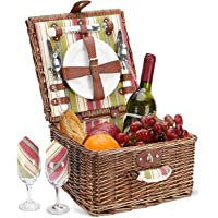 Picnic Basket for 2 Person, Durable Wicker Picnic Hamper Set, Willow Picnic Basket Accessories Plates and Utensils…