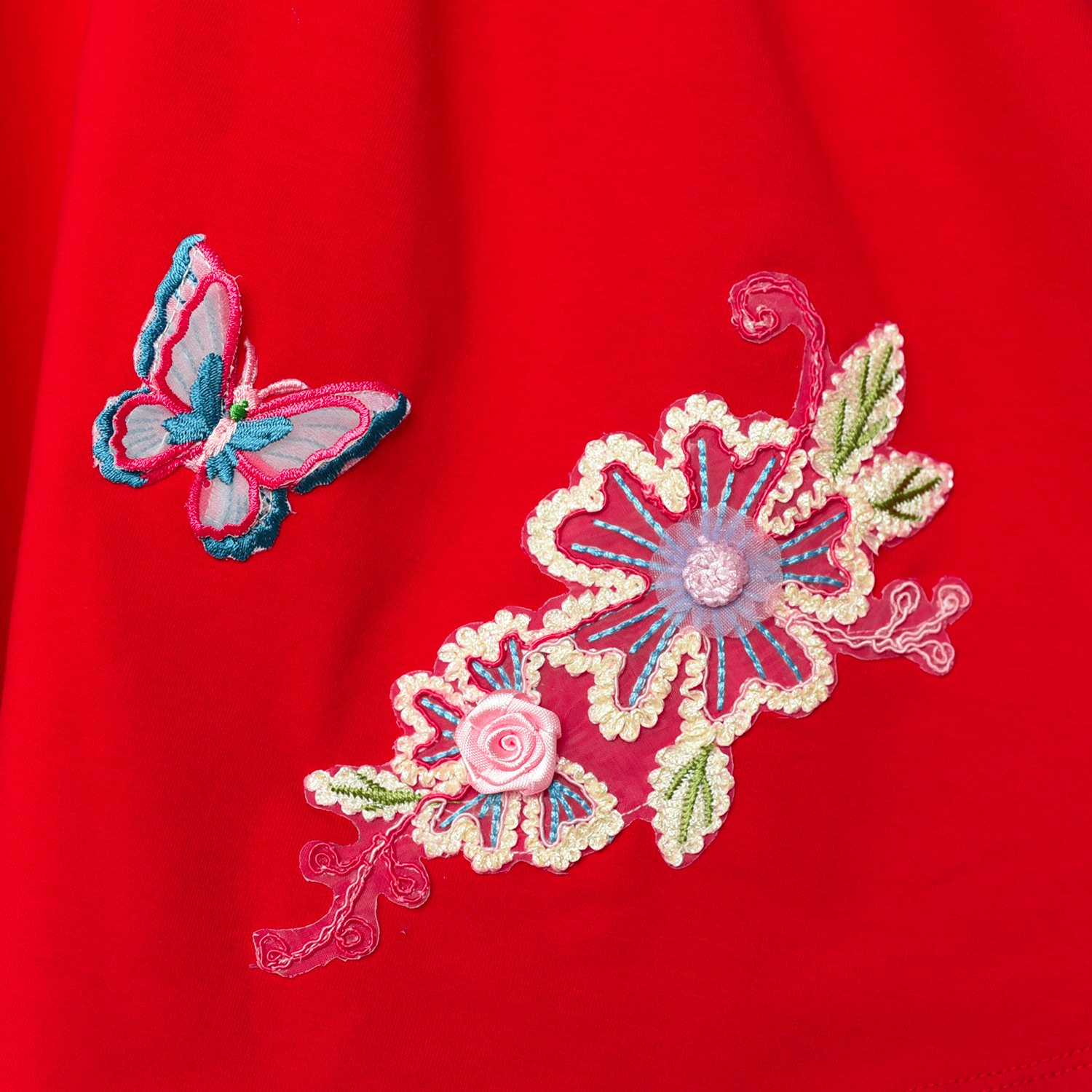 Sunny Fashion Girls Dress Red Long Sleeve Embroidered Holiday Christmas Dress
