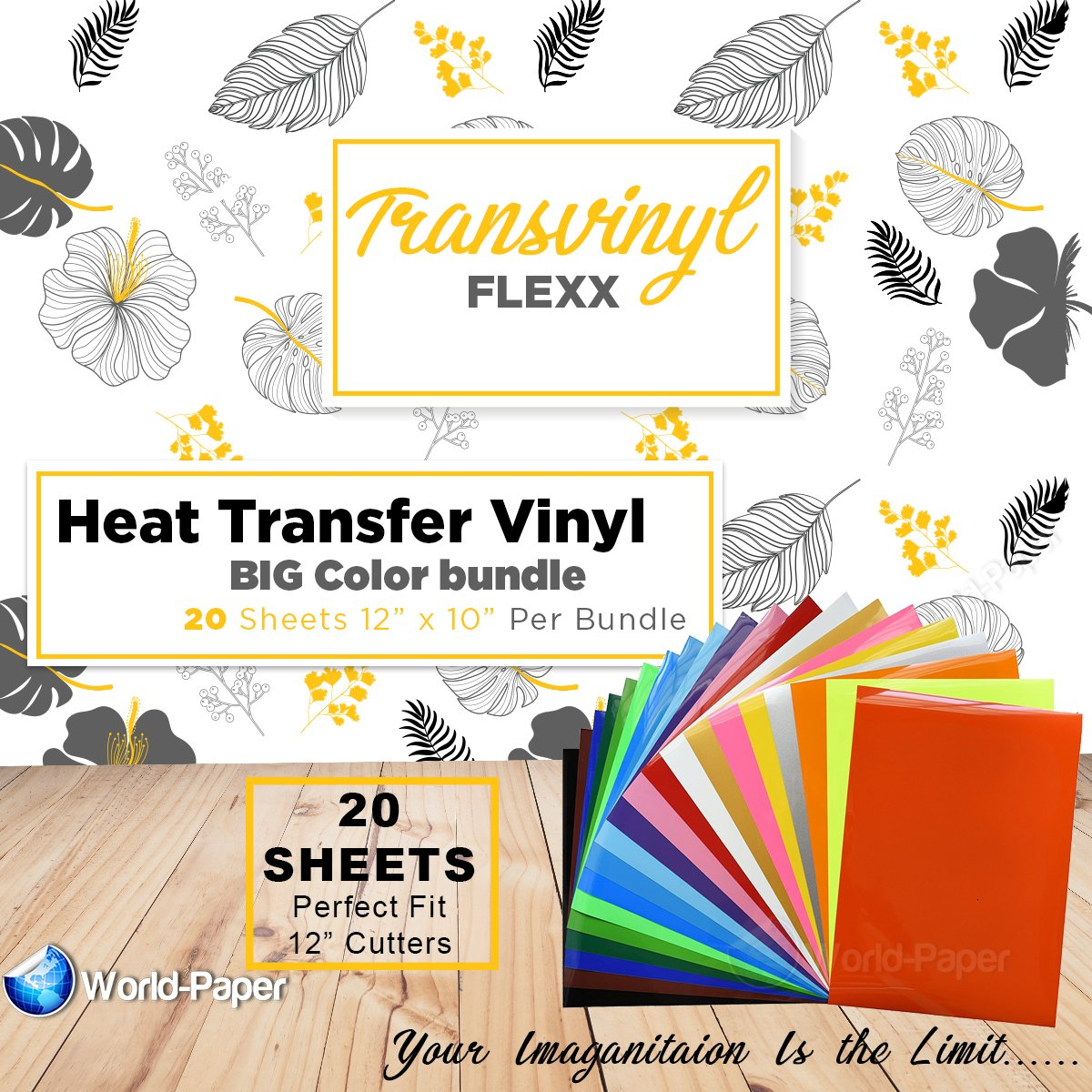 HTV Heat Transfer Vinyl Bundle 12x10-20 Multi-Color Sheets for Cricut Silhouette Cameo Or Heat Press Machine - Bonus PTFE Sheet Iron On Vinyl for DIY T-Shirts by world-paper