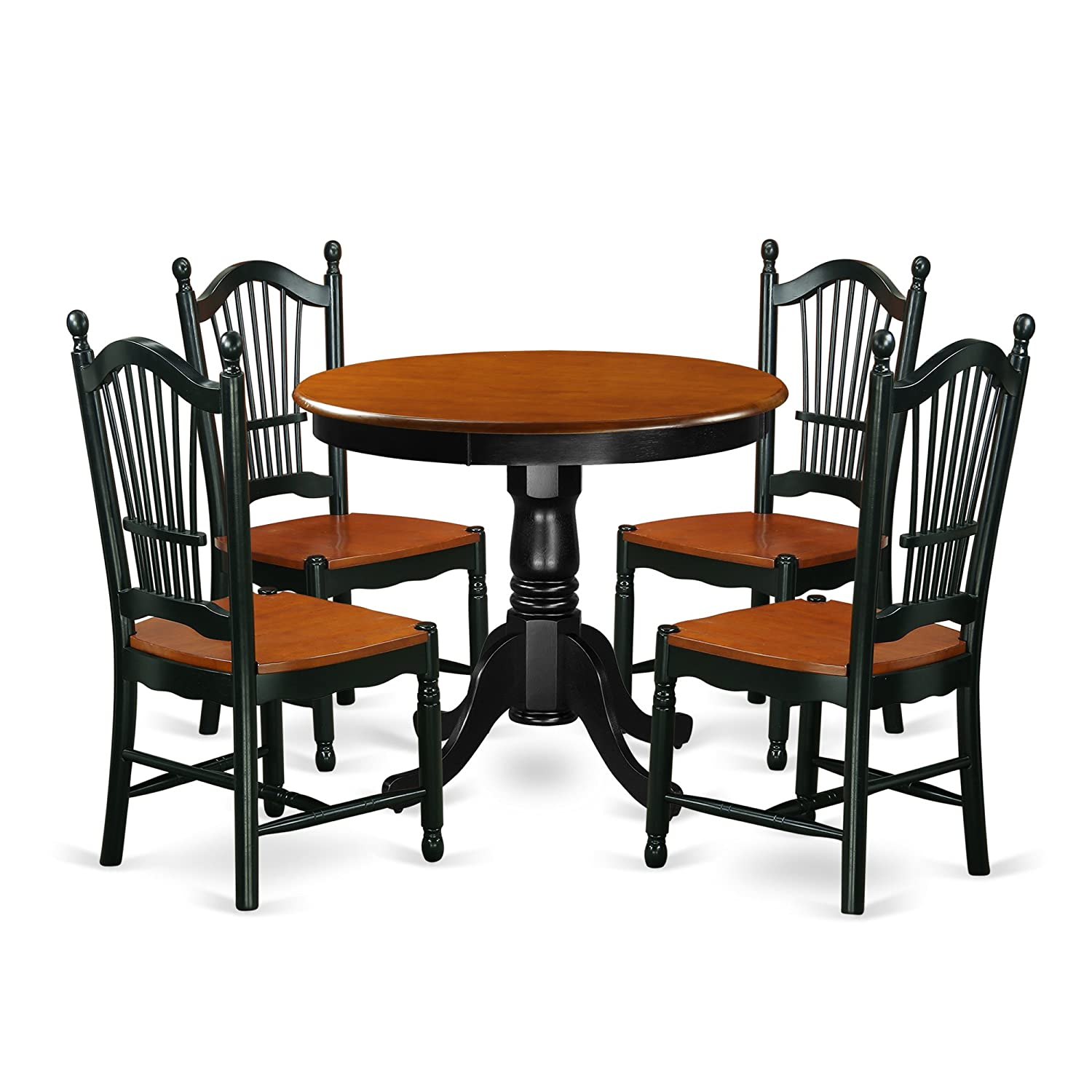East West Furniture ANDO5-BCH-W 5 Piece Dining Set Table & 4 Wood Seat Kitchen Chairs, Black/Cherry