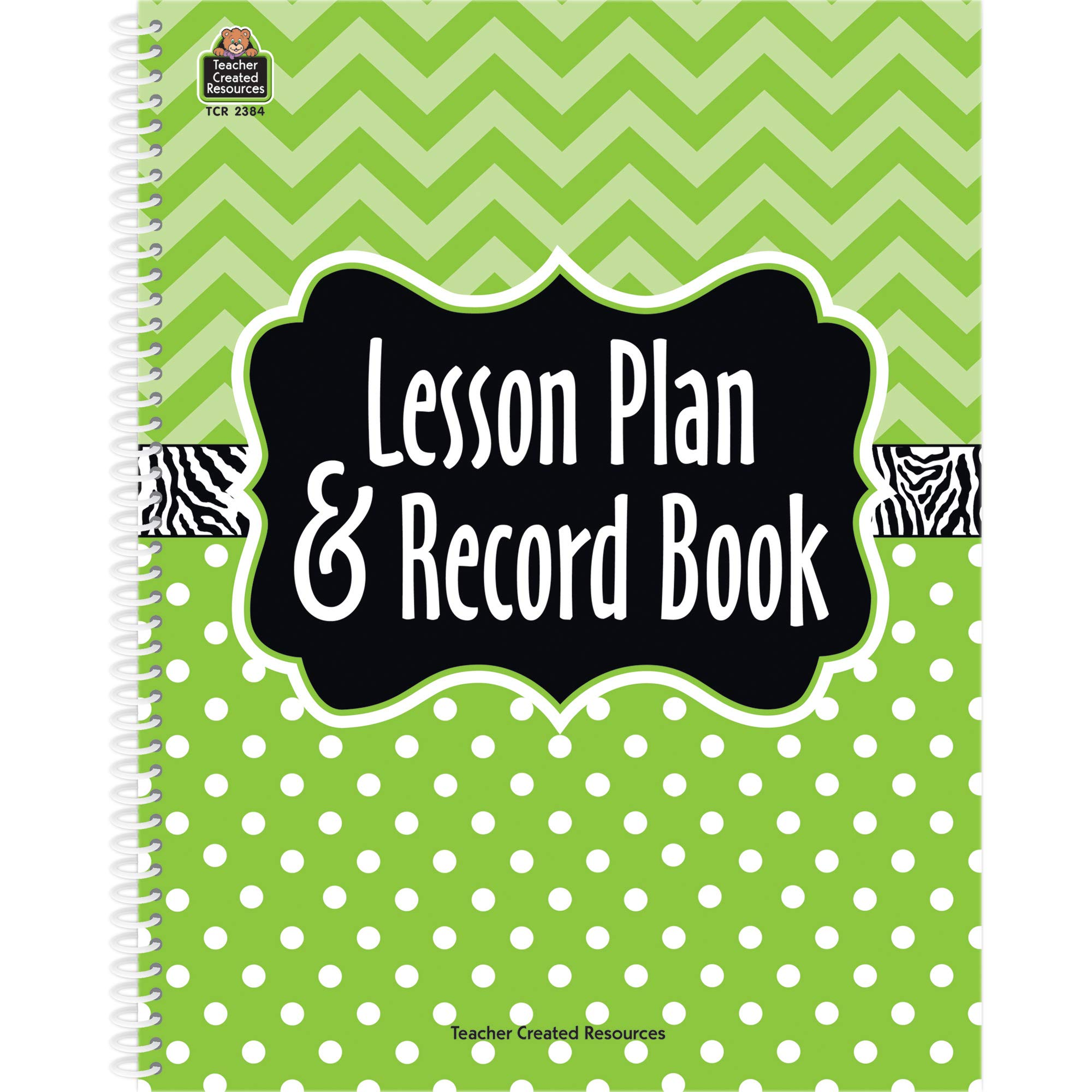 Teacher Created Resources TCR2384BN Lime Chevrons and Dots Lesson Plan & Record Book, Pack of 5