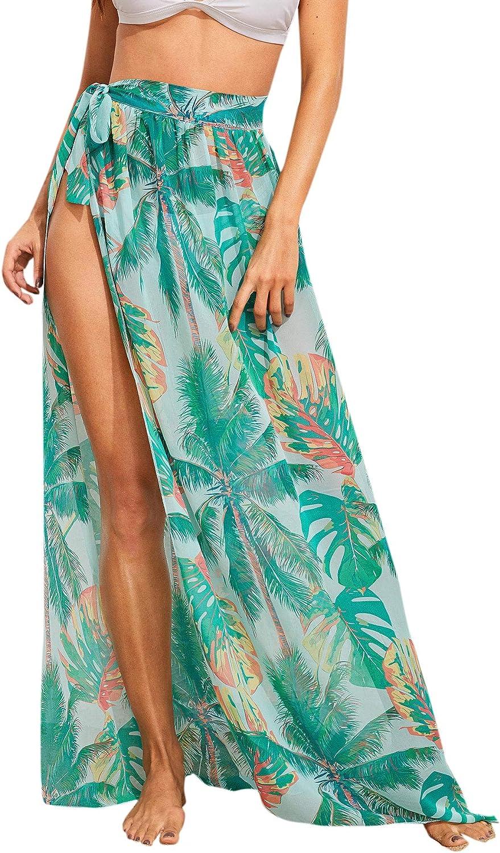 Floerns Women's Sheer Beach Swimwear Cover Up Wrap Skirt