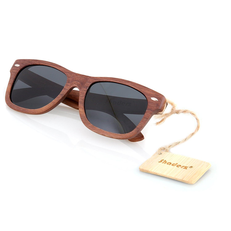 Amazon.com: Walnut Wood Wooden Sunglasses by Shaderz - Vintage Retro ...