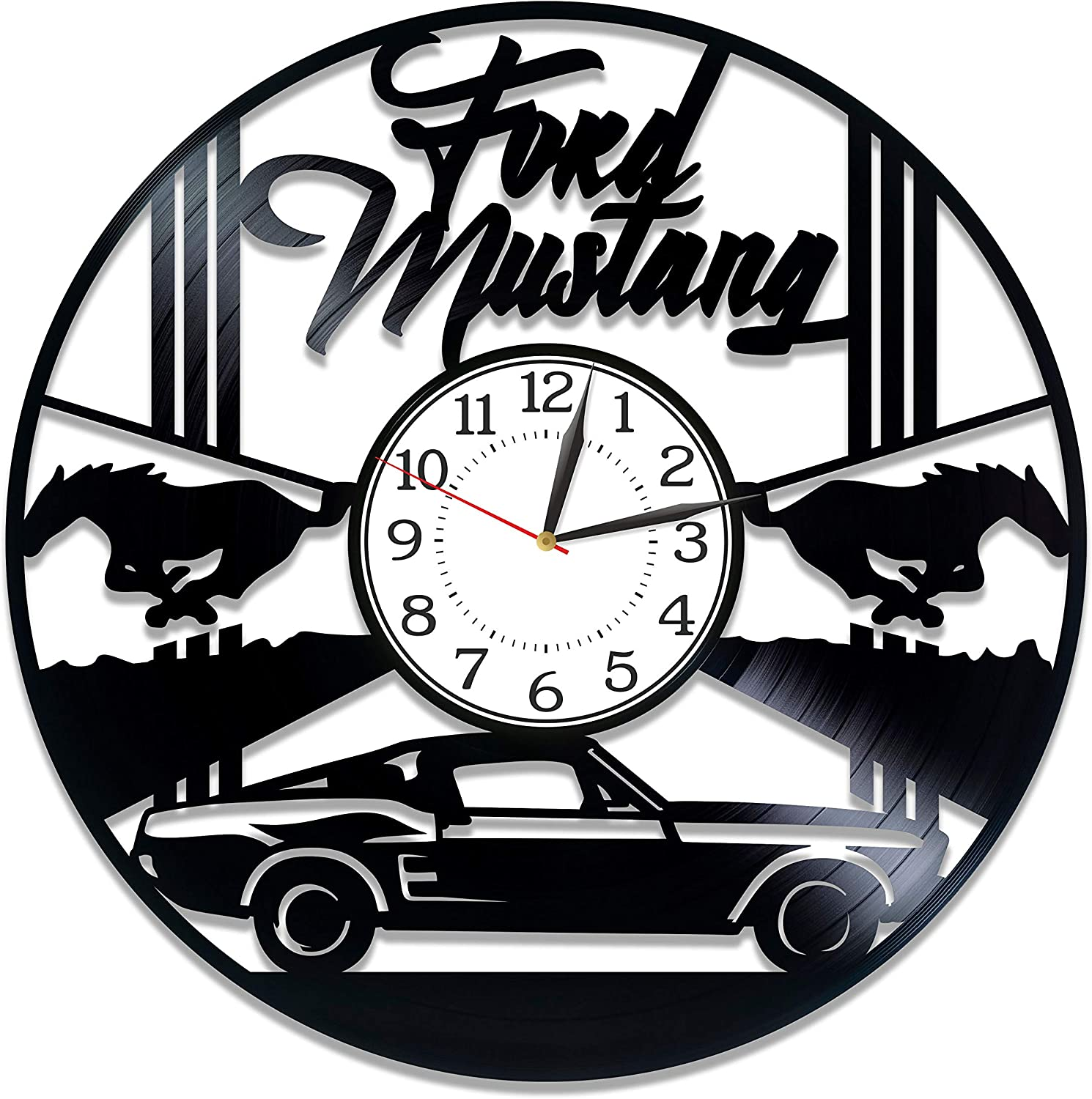 Kovides Sport Car Handmade Products Ford Mustang Birthday Gift Idea Car Wall Clock 12 Inch Speed Car for Man and Woman Original Home Decor Ford Mustang Vinyl Record Wall Clock