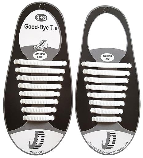 Fangblatt Cordones Elásticos de silicona (Blanco/Plano)–Se sujeta para sus zapatos–Adultos y jóvenes (Hombre/Mujer)–reißfeste schnürbänder para zapatillas ZEMki