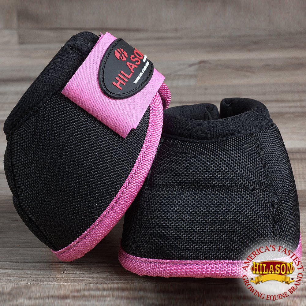 HILASON Large Horse Ballistic Overreach NO Turn Bell Boots Pair Black Pink