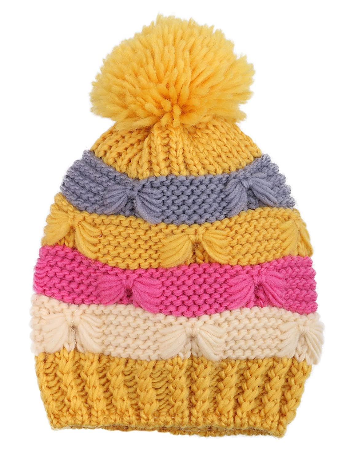 a1e59ae6bb3 Amazon.com  YoungLove Kids Winter Stripes Cable Knit Beanie Hat ...