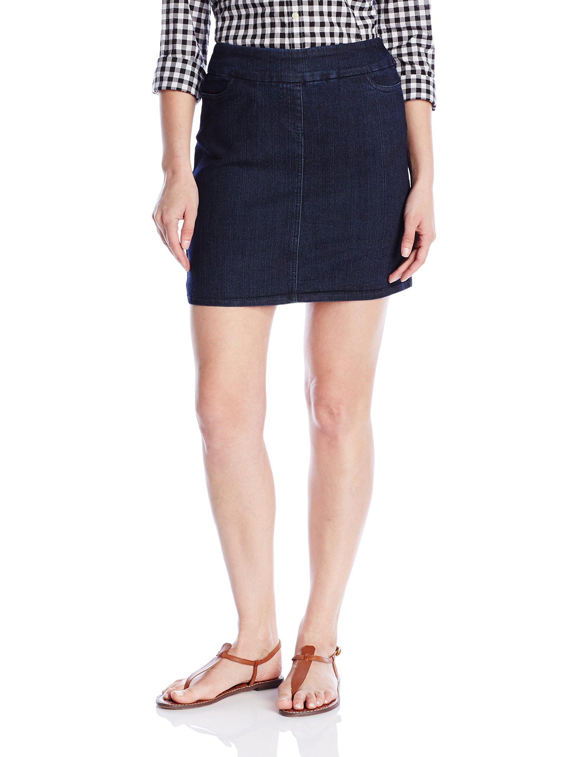 SLIM-SATION Women's Size Wide Band Solid Skort, Denim, 14