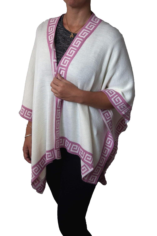 TINKUY PERU  Peruvian Alpaca Wool  Women´s Reversible Inca White & Pink Geometric Design  Pashmina Cape Poncho Ruana