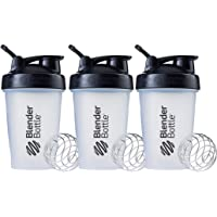 BlenderBottle Classic Shaker Bottle Perfect for Protein Shakes and Pre Workout, 20-Ounce (3 Pack), Clear/Black