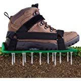 Ohuhu Lawn Aerator Shoes with Hook & Loop Straps, All New Unique Design Free-Installation Heavy Duty Spiked Aerating Sandals,