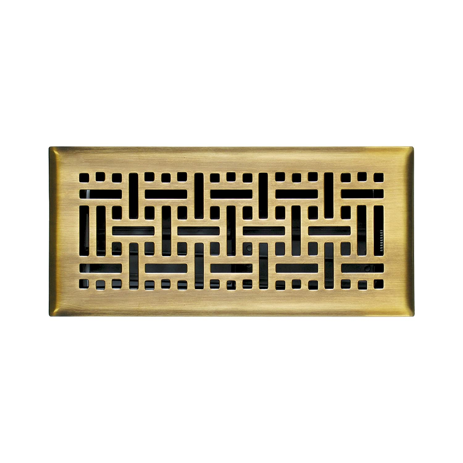 Accord AMFRPBB412 Floor Register with Wicker Design, 4-Inch x 12-Inch(Duct Opening Measurements), Polished Brass