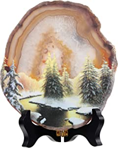 Amogeeli Natural Geode Agate Crystal for Office Home Decor, Prints Arts Decorative Stone with Stand