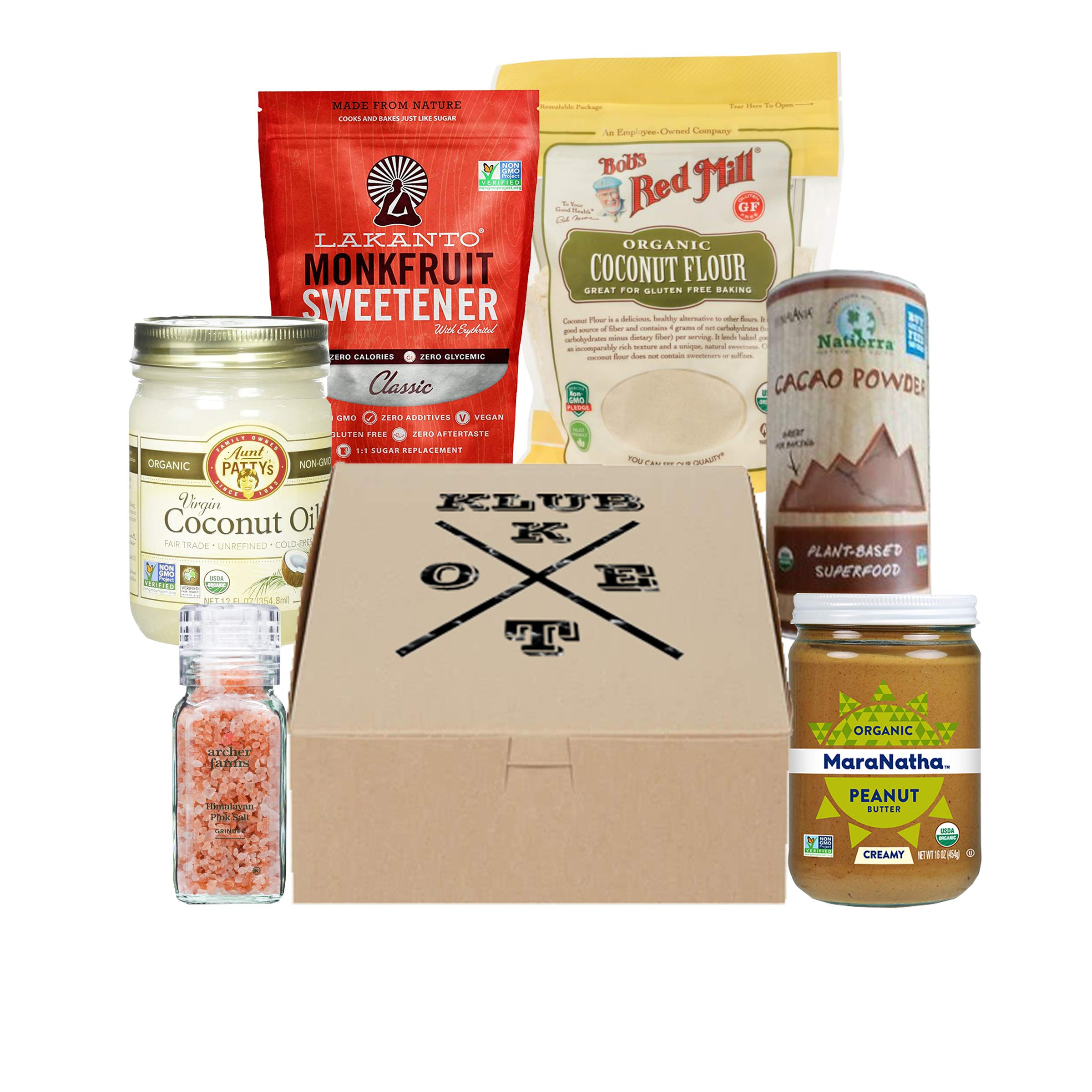 Keto Klub Pantry Box with Almond Meal, Caocao Powder, Monkfruit Sweetener, Coconut Oil and more for cooking essentials (Pantry)