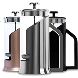 Lafeeca French Press Coffee Maker with Borosilicate Glass - Stainless Steel Lid Double Filtration System Large 34 oz 1000 ml Polished