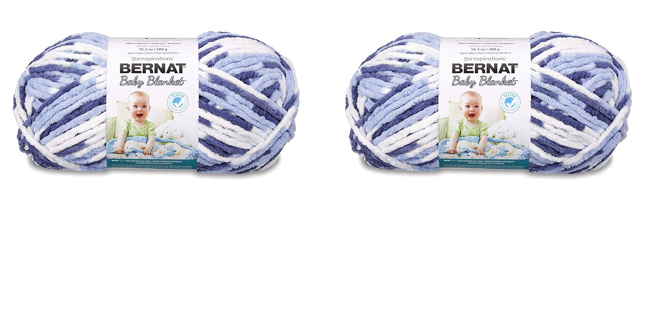Bernat Baby Blanket Yarn - (6) Super Bulky Gauge - 10.5 oz - Blue Dreams - Single Ball Machine Wash & Dry (16110404134) (2-Pack) by Bernat (Image #1)