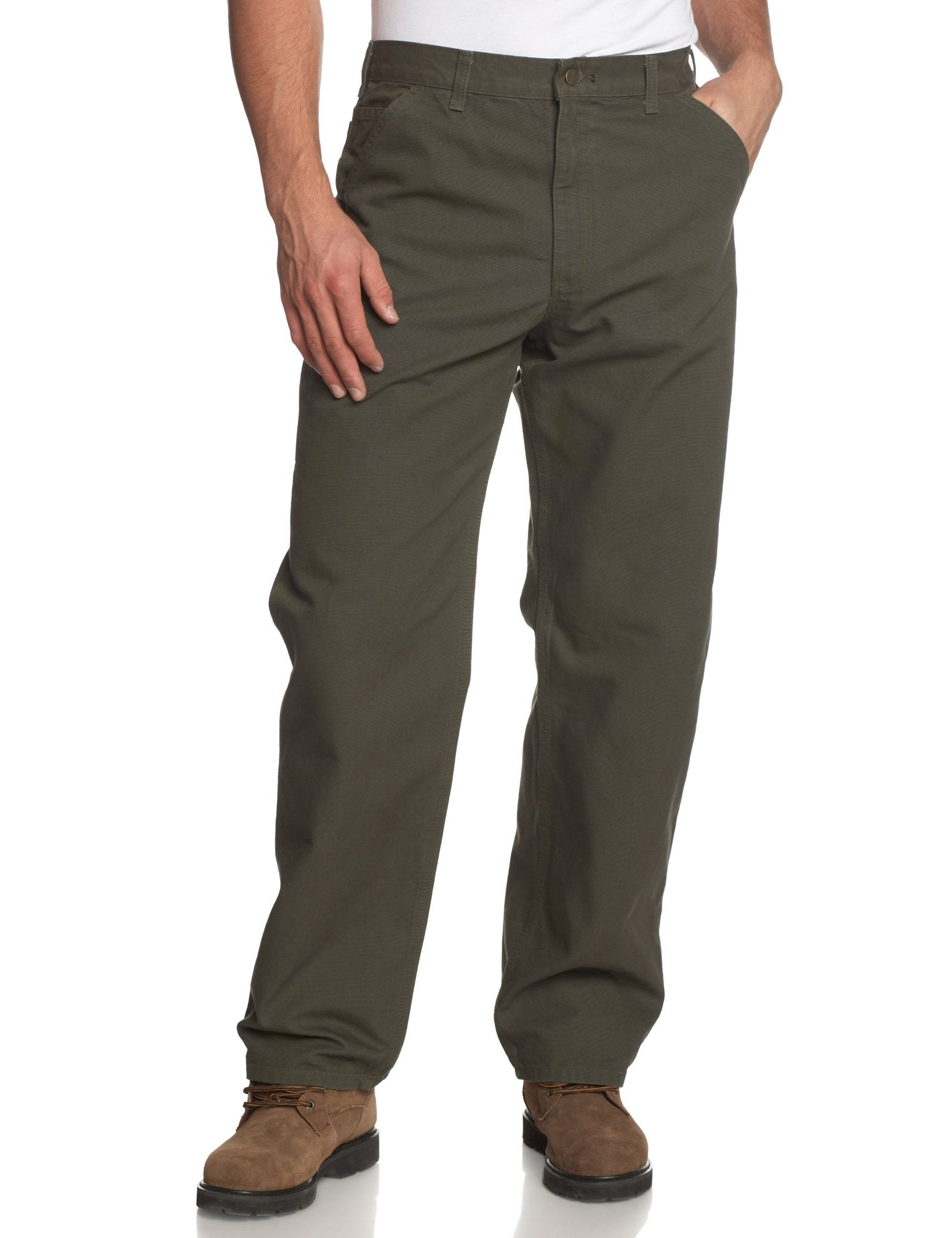 Carhartt Men's Washed Duck Work Dungaree Pant,Moss,38W x 30L