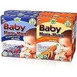 Hot-Kid Baby Mum-Mum Organic Crackers, Rice Rusks, 2 Flavor Variety Pack,Blueberry Goji and Sweet Potato Carrot, 4 count (2 of each)