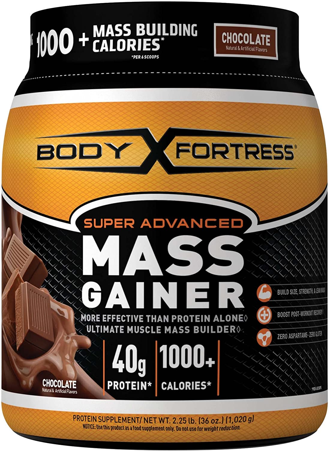 Body Fortress Super Advanced Mass Gainer, Chocolate, 2.25 Pounds by NBTY Sports Nutrition