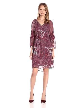 35163676f772a Lucky Brand Women s Red Paisley Dress